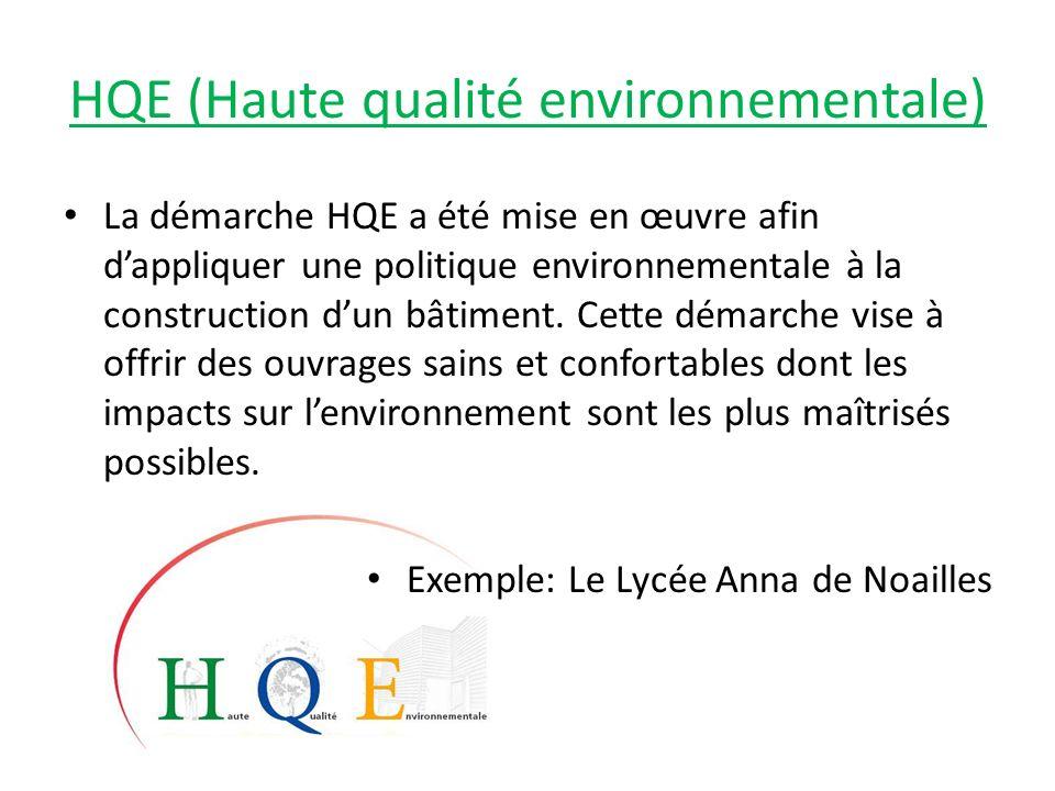 HQE (Haute qualité environnementale) La démarche HQE a été mise en œuvre afin dappliquer une politique environnementale à la construction dun bâtiment