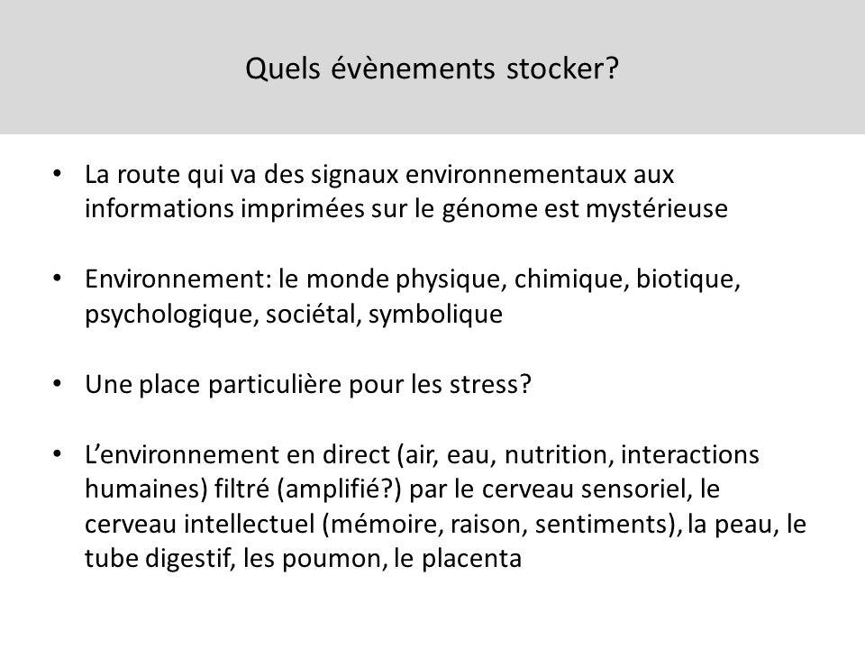 Quels évènements stocker? La route qui va des signaux environnementaux aux informations imprimées sur le génome est mystérieuse Environnement: le mond