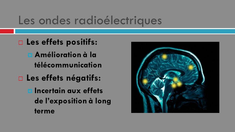 Les ondes radioélectriques Les effets positifs: Amélioration à la télécommunication Les effets négatifs: Incertain aux effets de lexposition à long te