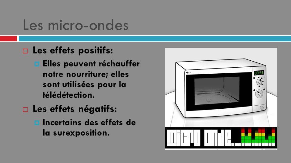 Les micro-ondes Les effets positifs: Elles peuvent réchauffer notre nourriture; elles sont utilisées pour la télédétection. Les effets négatifs: Incer