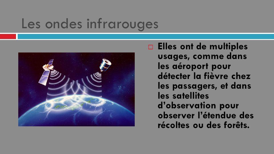 Les ondes infrarouges Elles ont de multiples usages, comme dans les aéroport pour détecter la fièvre chez les passagers, et dans les satellites dobser