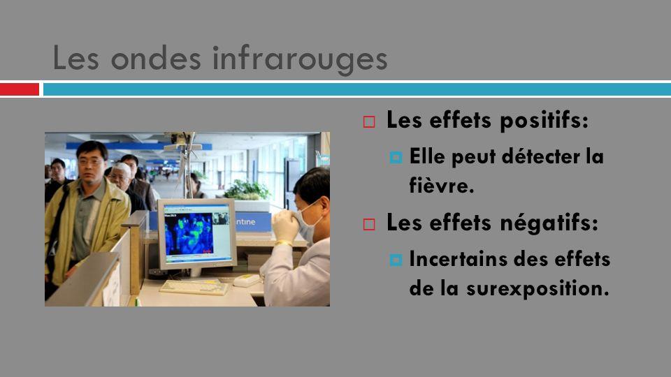 Les ondes infrarouges Les effets positifs: Elle peut détecter la fièvre. Les effets négatifs: Incertains des effets de la surexposition.