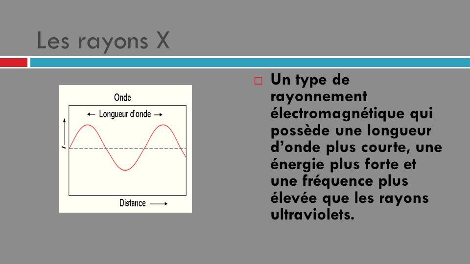 Les rayons X Un type de rayonnement électromagnétique qui possède une longueur donde plus courte, une énergie plus forte et une fréquence plus élevée