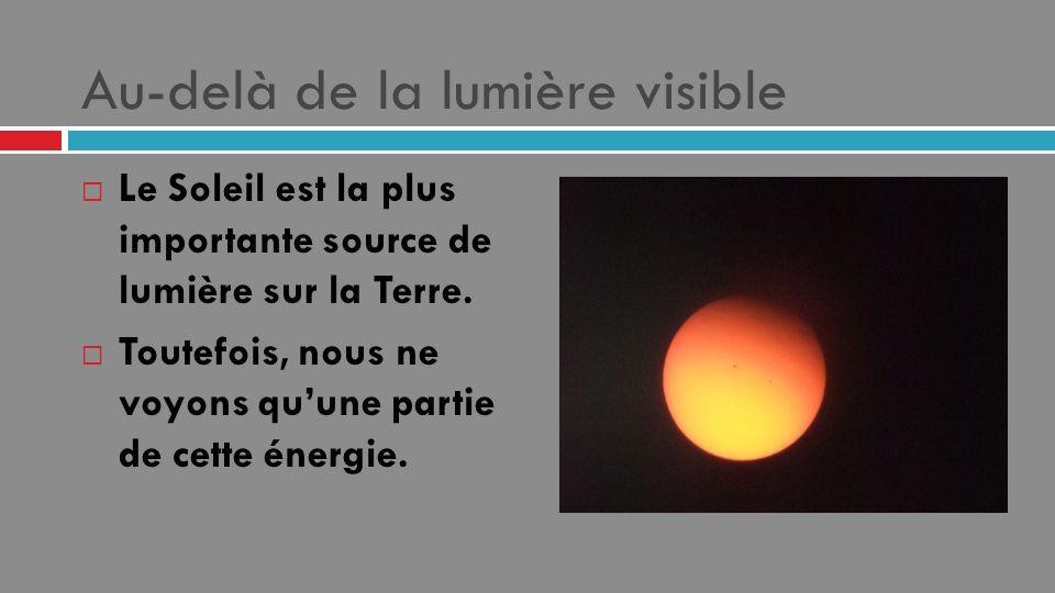 Au-delà de la lumière visible Le Soleil est la plus importante source de lumière sur la Terre. Toutefois, nous ne voyons quune partie de cette énergie