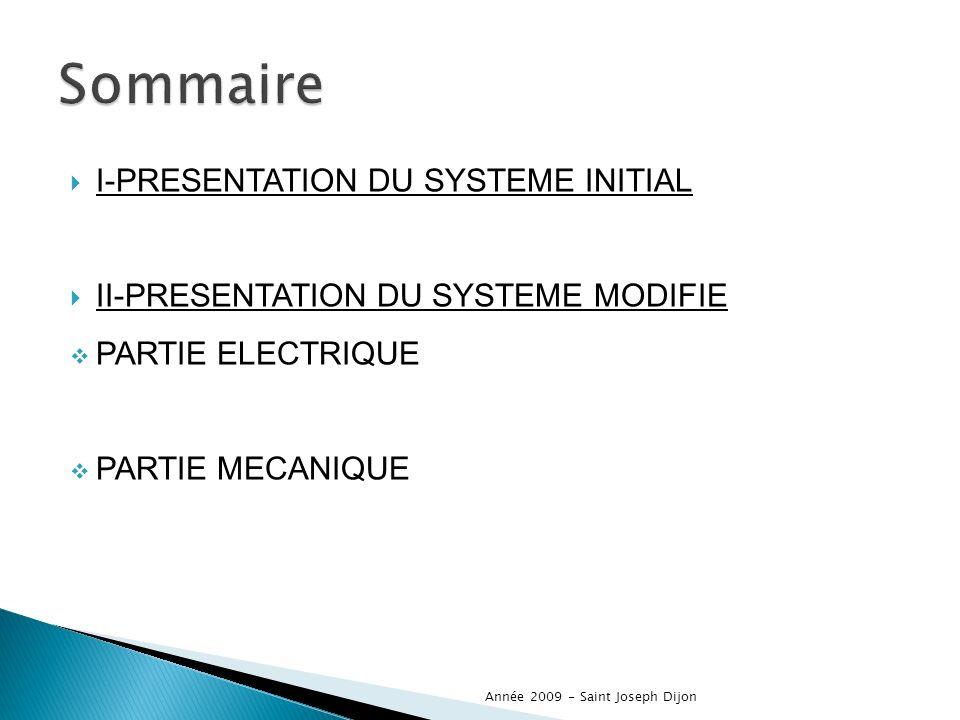 I-PRESENTATION DU SYSTEME INITIAL II-PRESENTATION DU SYSTEME MODIFIE PARTIE ELECTRIQUE PARTIE MECANIQUE Année 2009 - Saint Joseph Dijon