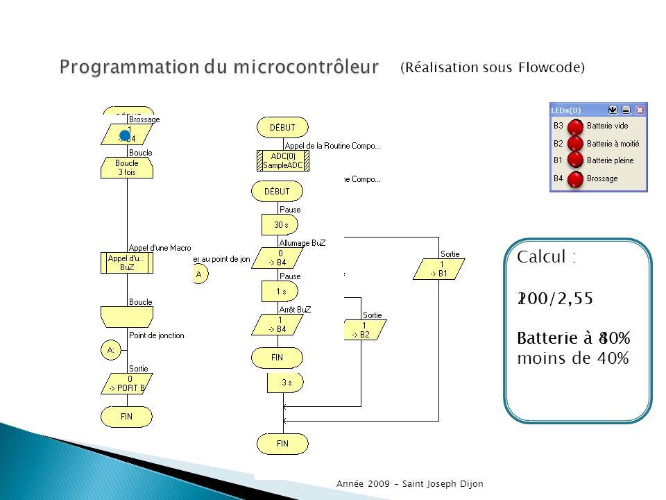(Réalisation sous Flowcode) Année 2009 - Saint Joseph Dijon Calcul : 200/2,55 Batterie à 80% 100/2,55 Batterie à 40% 100/2,55 Batterie à moins de 40%