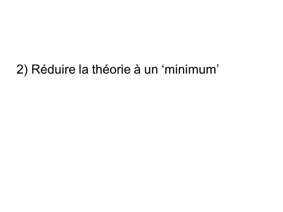 2) Réduire la théorie à un minimum