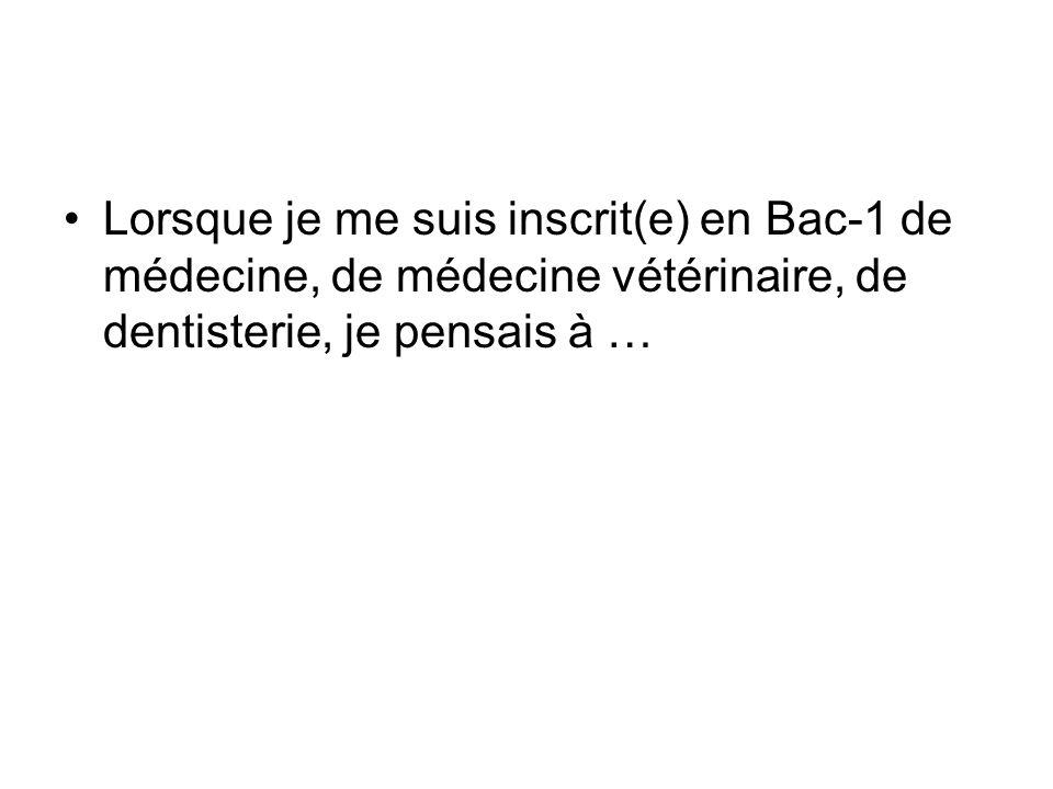 Lorsque je me suis inscrit(e) en Bac-1 de médecine, de médecine vétérinaire, de dentisterie, je pensais à …