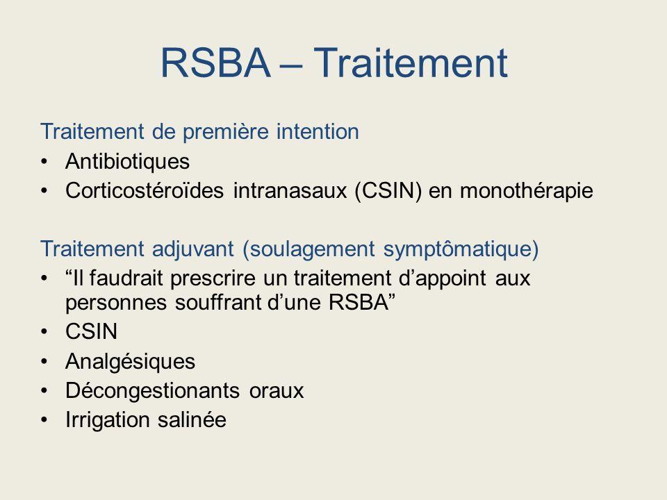 Traitement de première intention Antibiotiques Corticostéroïdes intranasaux (CSIN) en monothérapie Traitement adjuvant (soulagement symptômatique) Il