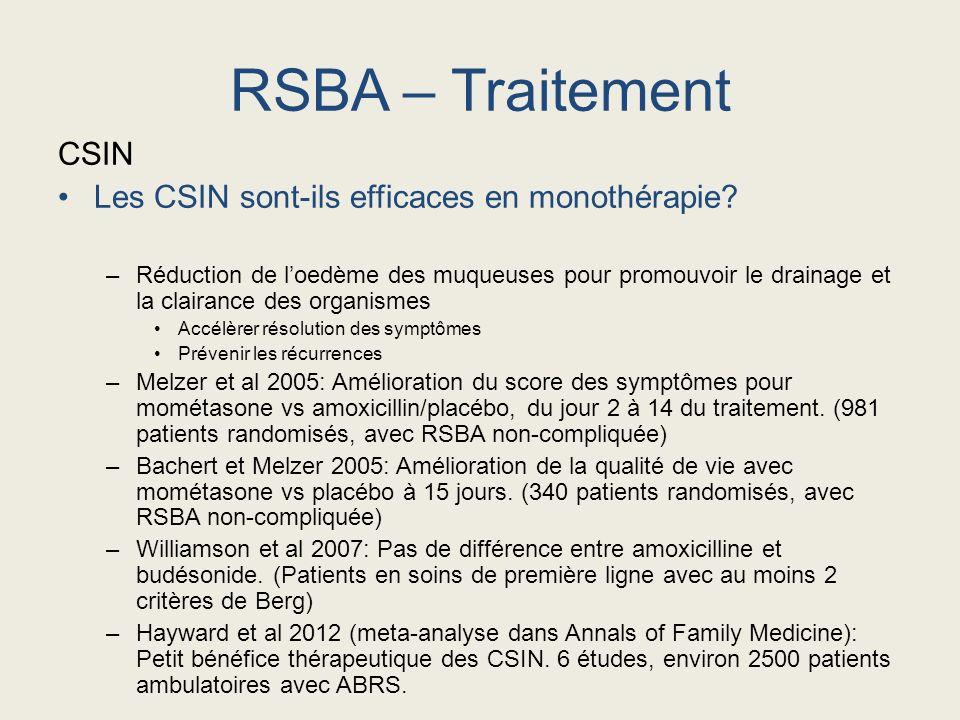 CSIN Les CSIN sont-ils efficaces en monothérapie? –Réduction de loedème des muqueuses pour promouvoir le drainage et la clairance des organismes Accél