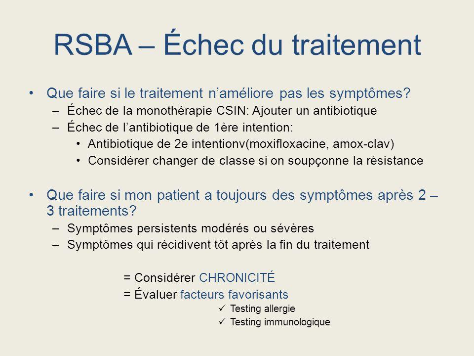 Que faire si le traitement naméliore pas les symptômes? –Échec de la monothérapie CSIN: Ajouter un antibiotique –Échec de lantibiotique de 1ère intent