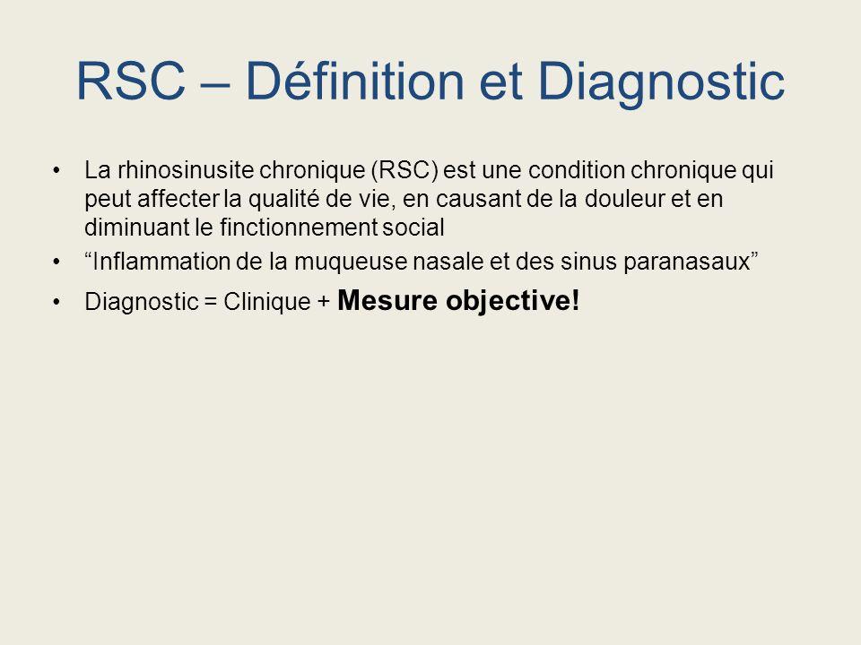 RSC – Définition et Diagnostic La rhinosinusite chronique (RSC) est une condition chronique qui peut affecter la qualité de vie, en causant de la doul