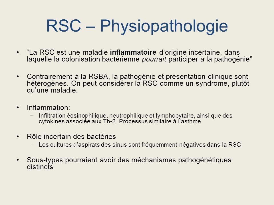 La RSC est une maladie inflammatoire dorigine incertaine, dans laquelle la colonisation bactérienne pourrait participer à la pathogénie Contrairement