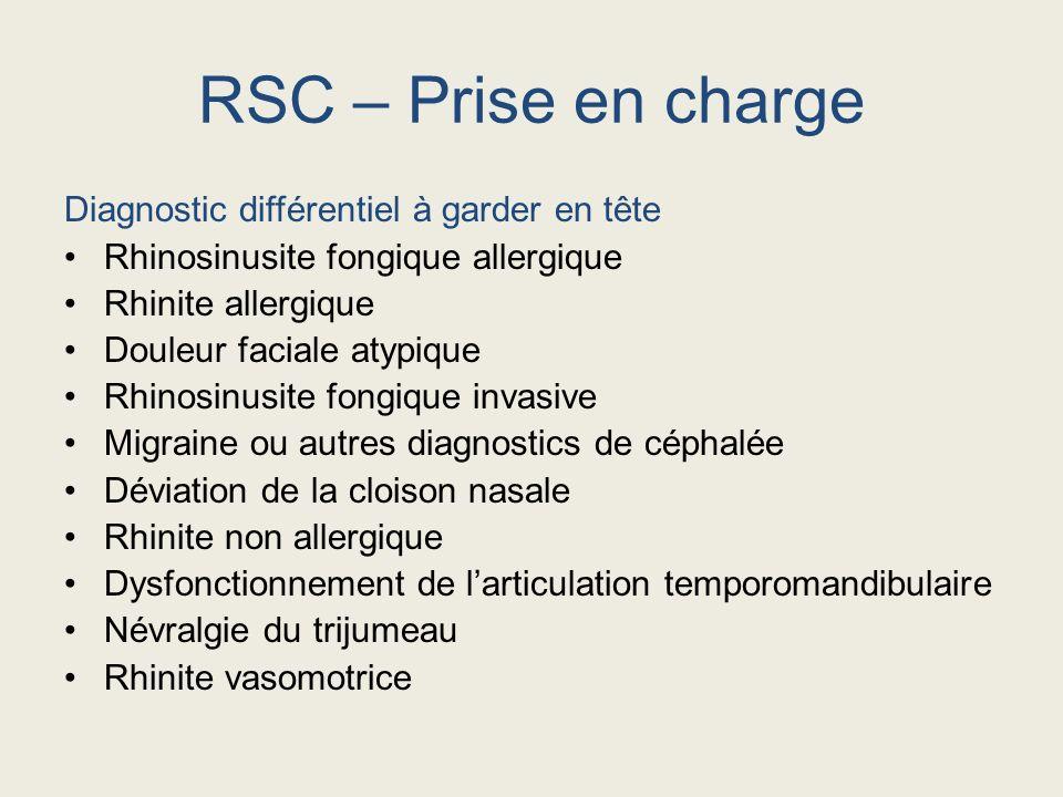 Diagnostic différentiel à garder en tête Rhinosinusite fongique allergique Rhinite allergique Douleur faciale atypique Rhinosinusite fongique invasive