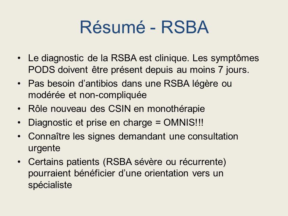 Résumé - RSBA Le diagnostic de la RSBA est clinique. Les symptômes PODS doivent être présent depuis au moins 7 jours. Pas besoin dantibios dans une RS