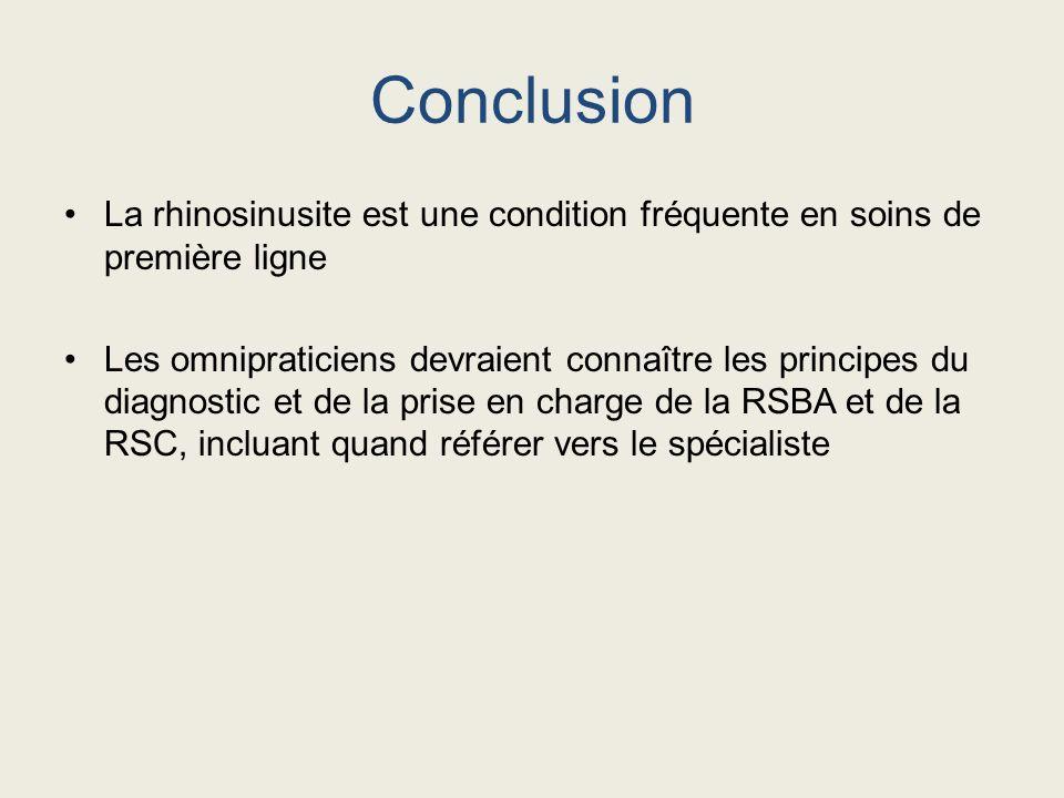 Conclusion La rhinosinusite est une condition fréquente en soins de première ligne Les omnipraticiens devraient connaître les principes du diagnostic