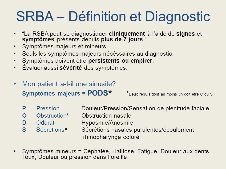 La RSBA peut se diagnostiquer cliniquement à laide de signes et symptômes présents depuis plus de 7 jours. Symptômes majeurs et mineurs. Seuls les sym