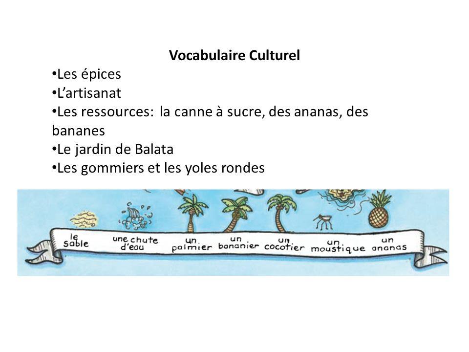 Vocabulaire Culturel Les épices Lartisanat Les ressources: la canne à sucre, des ananas, des bananes Le jardin de Balata Les gommiers et les yoles ron