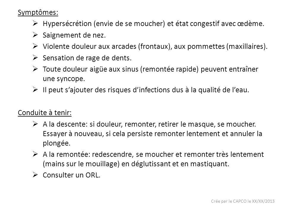 Crée par le CAPCO le XX/XX/2013 Symptômes: Hypersécrétion (envie de se moucher) et état congestif avec œdème. Saignement de nez. Violente douleur aux