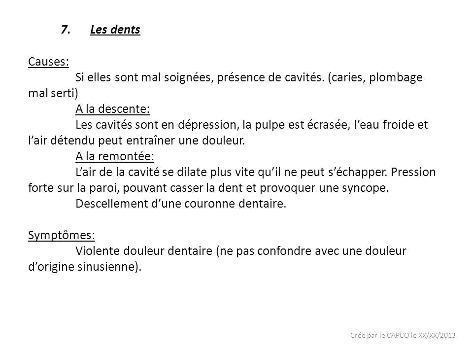 Crée par le CAPCO le XX/XX/2013 7.Les dents Causes: Si elles sont mal soignées, présence de cavités. (caries, plombage mal serti) A la descente: Les c
