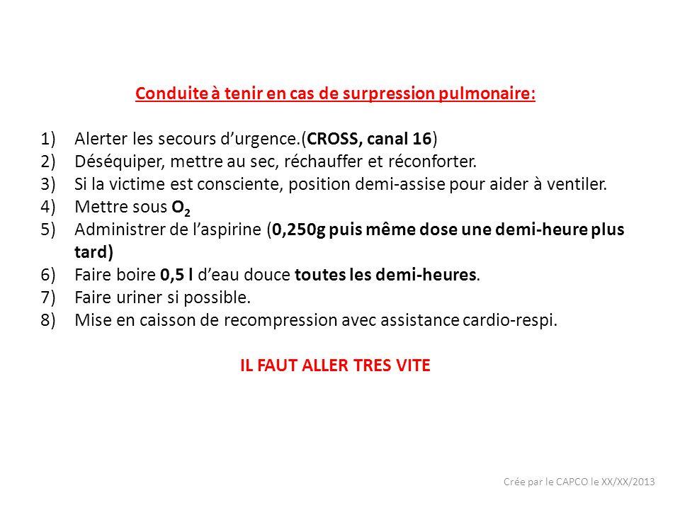 Crée par le CAPCO le XX/XX/2013 Conduite à tenir en cas de surpression pulmonaire: 1)Alerter les secours durgence.(CROSS, canal 16) 2)Déséquiper, mett