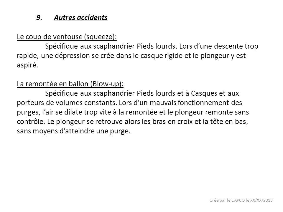 Crée par le CAPCO le XX/XX/2013 9.Autres accidents Le coup de ventouse (squeeze): Spécifique aux scaphandrier Pieds lourds. Lors dune descente trop ra