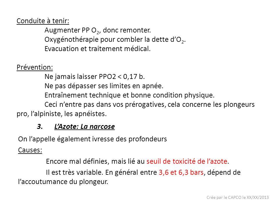 Crée par le CAPCO le XX/XX/2013 Conduite à tenir: Augmenter PP O 2, donc remonter. Oxygénothérapie pour combler la dette dO 2. Evacuation et traitemen
