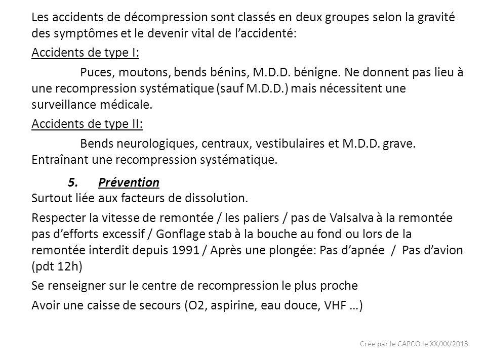 Crée par le CAPCO le XX/XX/2013 Les accidents de décompression sont classés en deux groupes selon la gravité des symptômes et le devenir vital de lacc