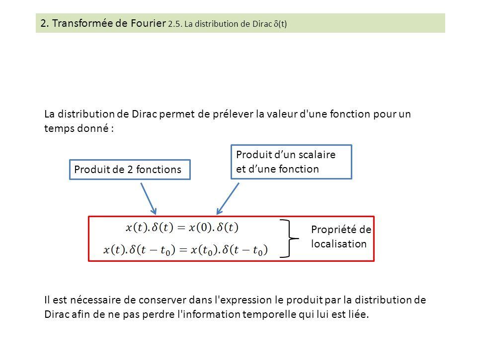 Propriété de localisation La distribution de Dirac permet de prélever la valeur d'une fonction pour un temps donné : Il est nécessaire de conserver da