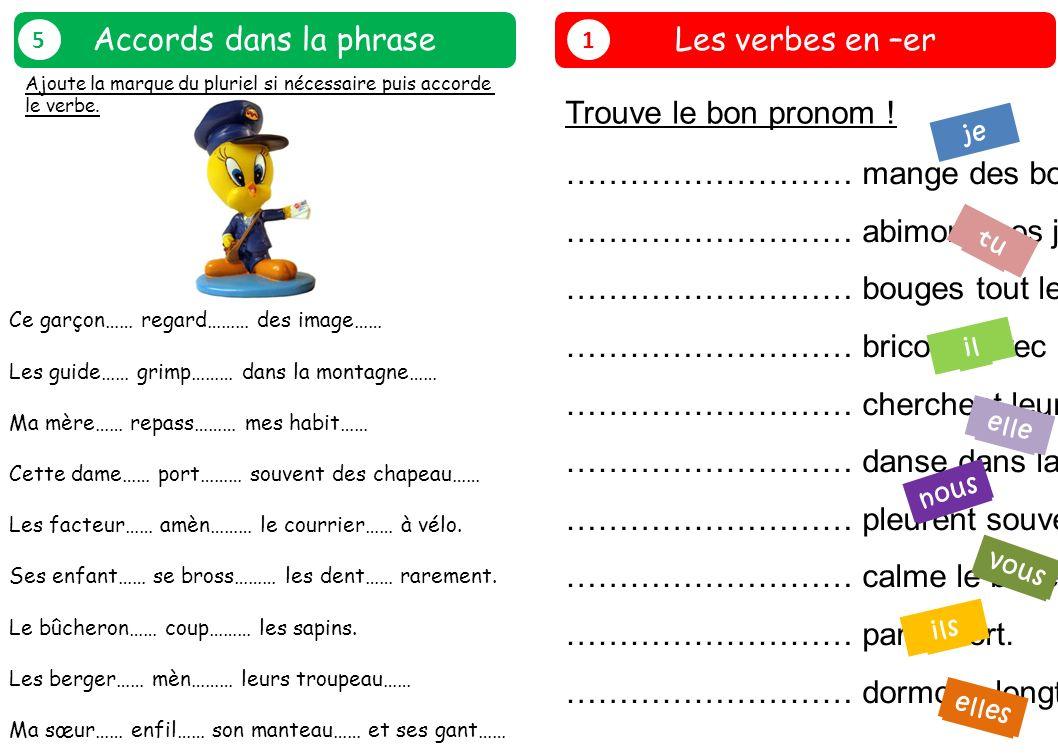 Les verbes en –er 1 Trouve le bon pronom ! ……………………… mange des bonbons. ……………………… abimons nos jouets. ……………………… bouges tout le temps. ……………………… bricol