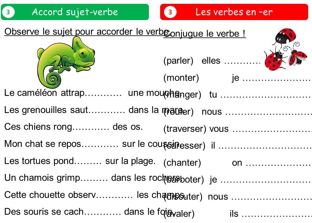 Les verbes en –er 3 Conjugue le verbe ! (parler) elles ……………………………………… (monter) je ……………………………………… (manger) tu ……………………………………… (rouler) nous ………………………