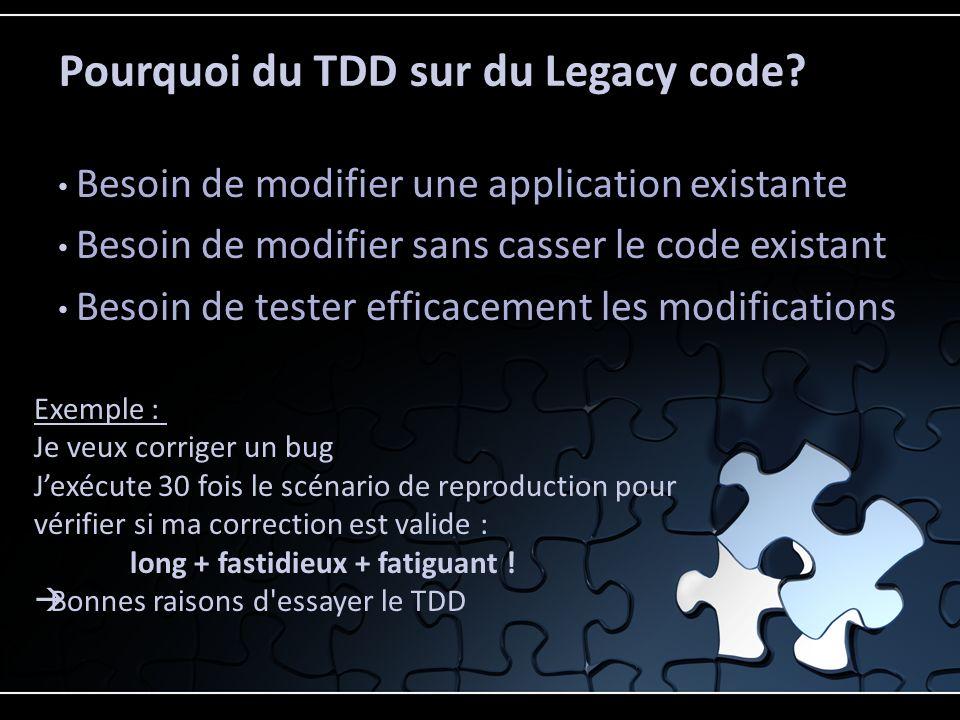 Pourquoi du TDD sur du Legacy code.