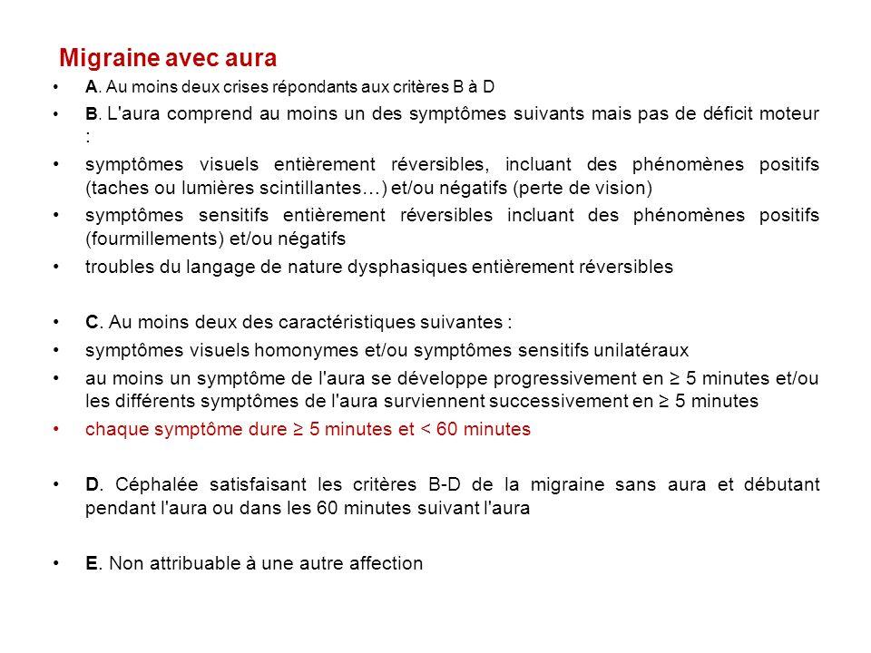 Migraine avec aura A. Au moins deux crises répondants aux critères B à D B. L'aura comprend au moins un des symptômes suivants mais pas de déficit mot