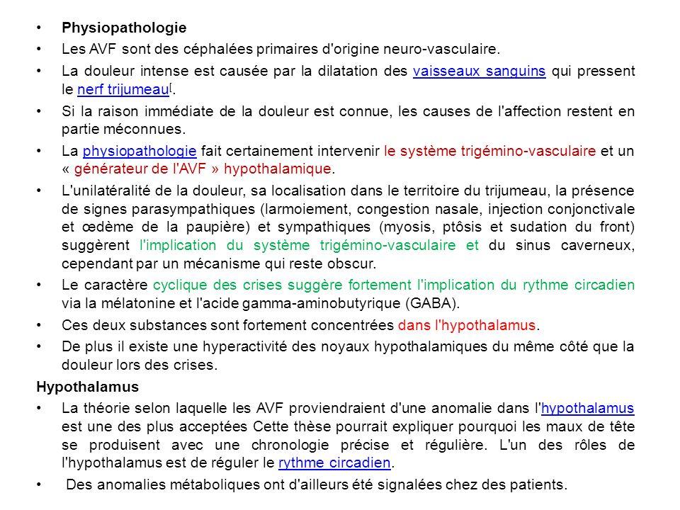 Physiopathologie Les AVF sont des céphalées primaires d origine neuro-vasculaire.