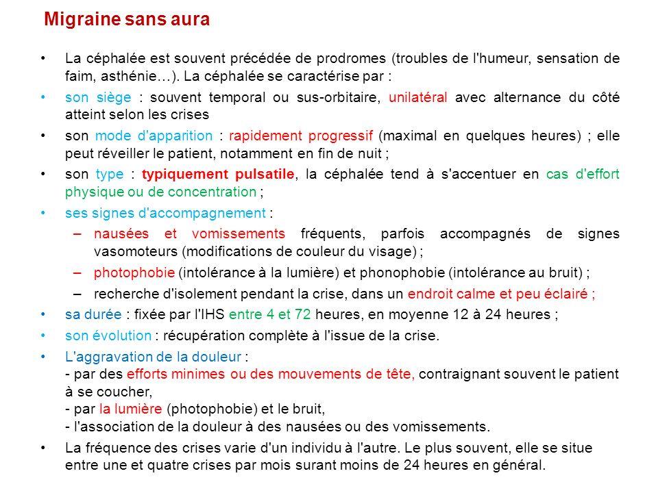 Migraine sans aura La céphalée est souvent précédée de prodromes (troubles de l'humeur, sensation de faim, asthénie…). La céphalée se caractérise par