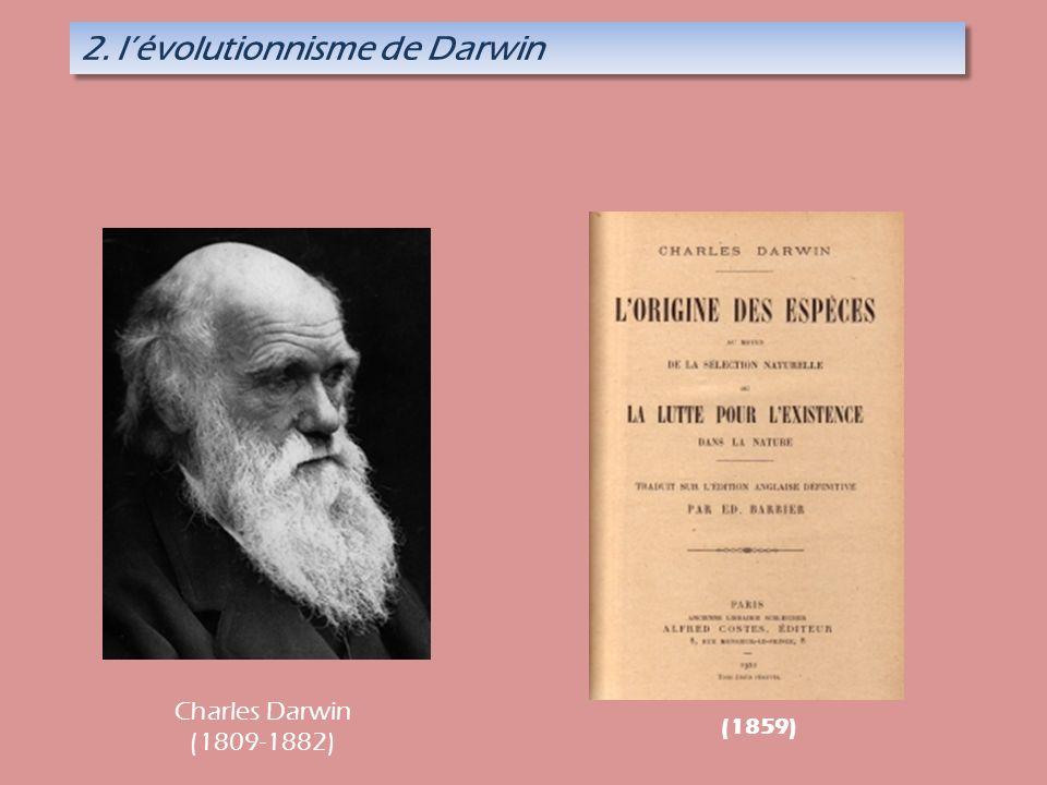 2. lévolutionnisme de Darwin (1859) Charles Darwin (1809-1882)
