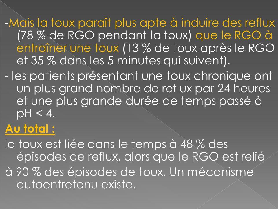 -Mais la toux paraît plus apte à induire des reflux (78 % de RGO pendant la toux) que le RGO à entraîner une toux (13 % de toux après le RGO et 35 % d