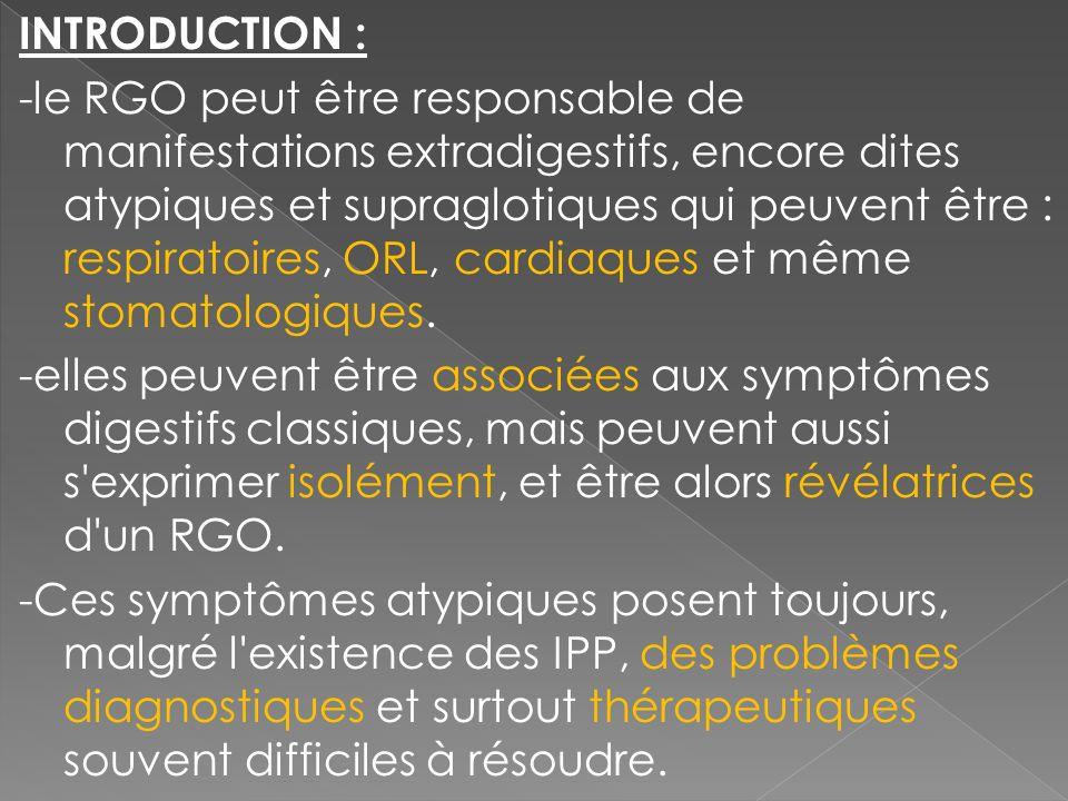 INTRODUCTION : -le RGO peut être responsable de manifestations extradigestifs, encore dites atypiques et supraglotiques qui peuvent être : respiratoir