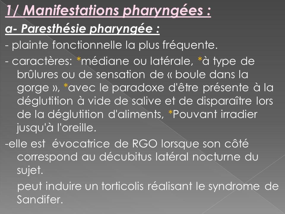 1/ Manifestations pharyngées : a- Paresthésie pharyngée : - plainte fonctionnelle la plus fréquente. - caractères: *médiane ou latérale, *à type de br