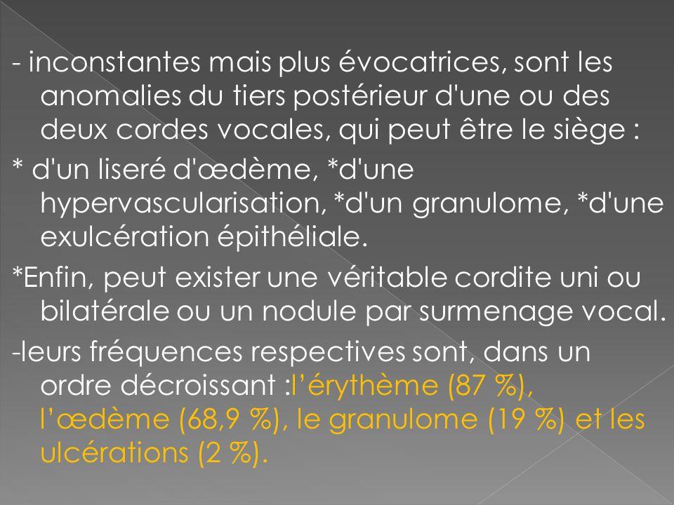 - inconstantes mais plus évocatrices, sont les anomalies du tiers postérieur d'une ou des deux cordes vocales, qui peut être le siège : * d'un liseré