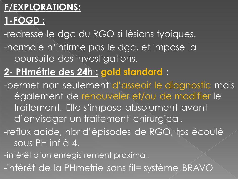 F/EXPLORATIONS: 1-FOGD : -redresse le dgc du RGO si lésions typiques. -normale ninfirme pas le dgc, et impose la poursuite des investigations. 2- PHmé