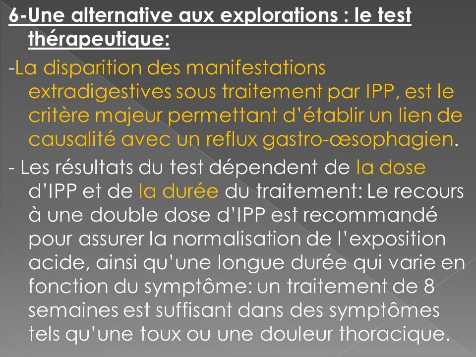 6-Une alternative aux explorations : le test thérapeutique: -La disparition des manifestations extradigestives sous traitement par IPP, est le critère