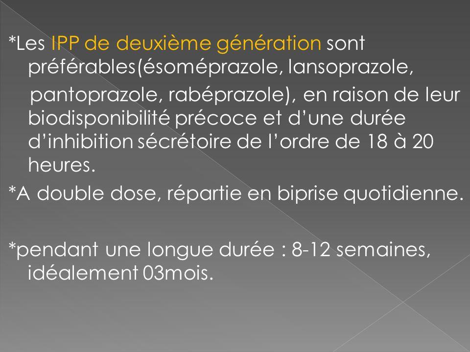 *Les IPP de deuxième génération sont préférables(ésoméprazole, lansoprazole, pantoprazole, rabéprazole), en raison de leur biodisponibilité précoce et