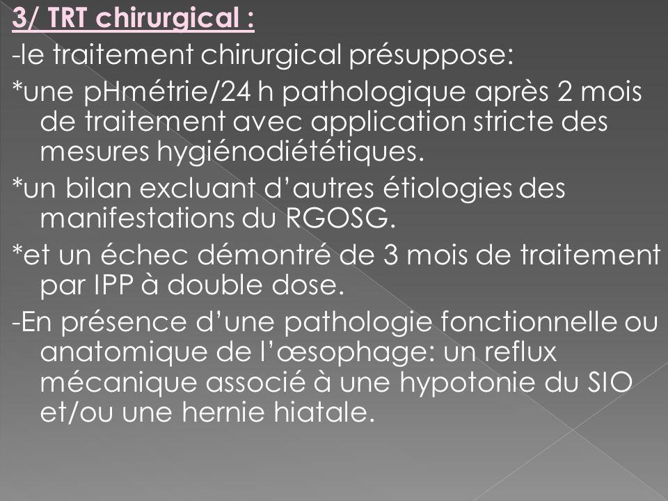 3/ TRT chirurgical : -le traitement chirurgical présuppose: *une pHmétrie/24 h pathologique après 2 mois de traitement avec application stricte des me