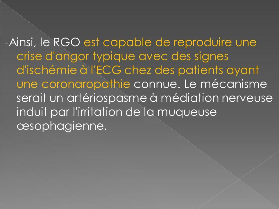 -Ainsi, le RGO est capable de reproduire une crise d'angor typique avec des signes d'ischémie à l'ECG chez des patients ayant une coronaropathie connu