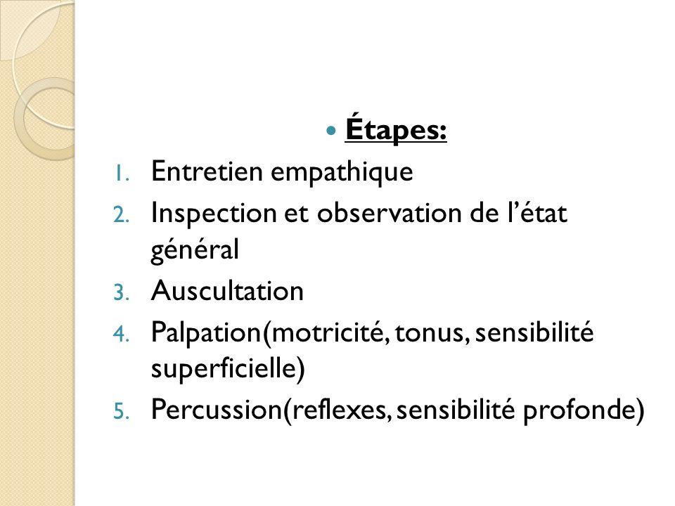 Étapes: 1. Entretien empathique 2. Inspection et observation de létat général 3. Auscultation 4. Palpation(motricité, tonus, sensibilité superficielle