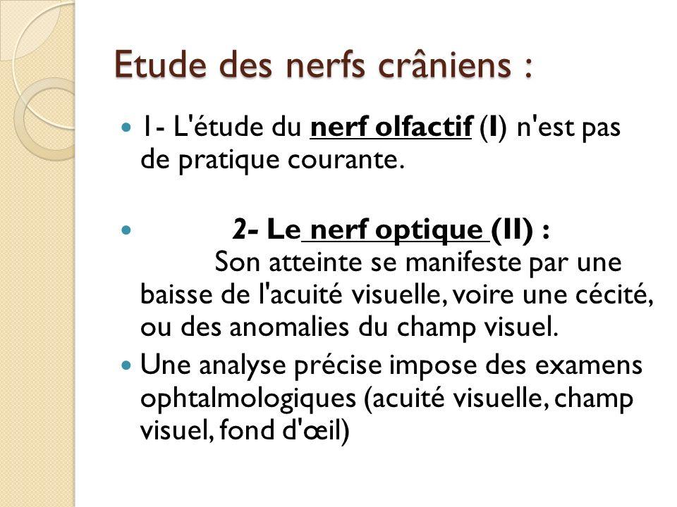 Etude des nerfs crâniens : 1- L'étude du nerf olfactif (I) n'est pas de pratique courante. 2- Le nerf optique (II) : Son atteinte se manifeste par une