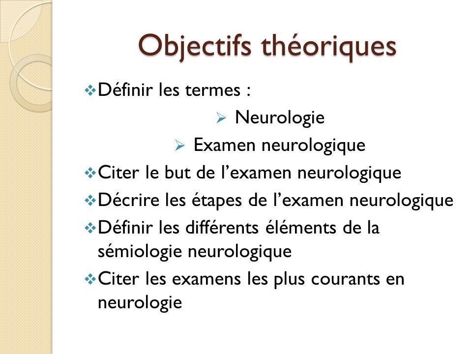 Objectifs théoriques Définir les termes : Neurologie Examen neurologique Citer le but de lexamen neurologique Décrire les étapes de lexamen neurologiq