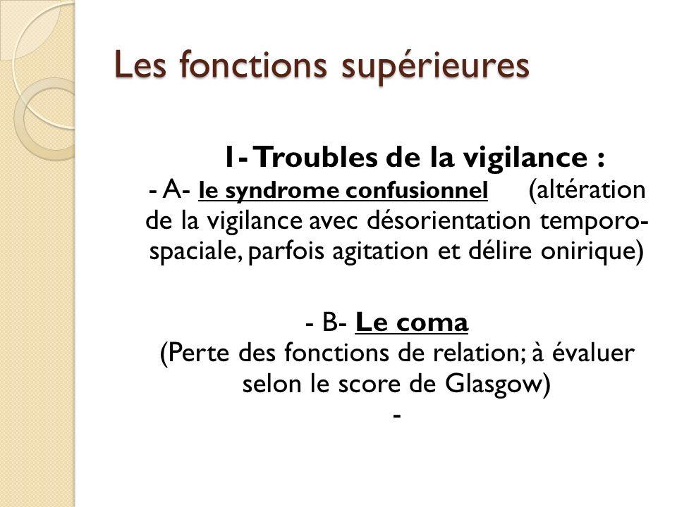 Les fonctions supérieures 1- Troubles de la vigilance : - A- le syndrome confusionnel (altération de la vigilance avec désorientation temporo- spacial