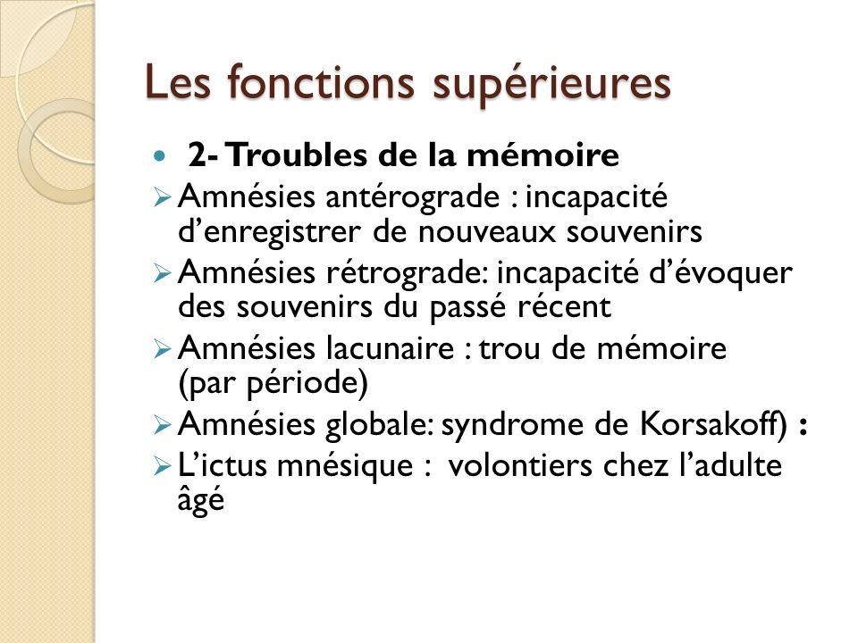 Les fonctions supérieures 2- Troubles de la mémoire Amnésies antérograde : incapacité denregistrer de nouveaux souvenirs Amnésies rétrograde: incapaci